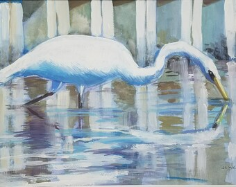 Drinking Egret Original Watercolor and Gouache Painting