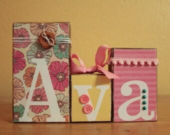 Vintage Pink Floral Baby Shower Centerpiece- Personalized Name Blocks- Baby Shower Blocks- Vintage Floral Nursery-Floral Baby Name Letters