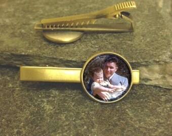 Photo Tie Clip, Father of the Bride Tie Clip, Gold or Silver Tie Clip, Father of the Bride Tie Bar