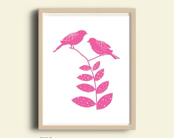 Nursery, nursery decor, nursery art, printable nursery, pink nursery decor, wall art, wall decor, love birds, girl nursery, nursery print