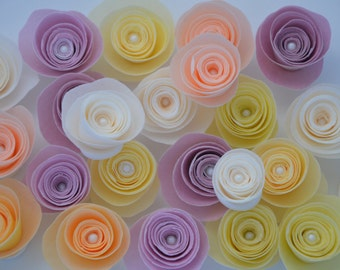 12 Edible Flowers for Cake, Wafer Paper Flowers,Edible Flowers for Cake or Cupcake, Ombre Wedding Cake, Pink Ombre Wedding Cake,rolled roses