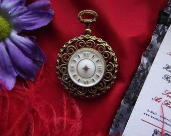 BR-0083 - Vintage Faux Watch Brooch/Pendant - Georgian Brooch, Regency Brooch, Gold Toned Brooch