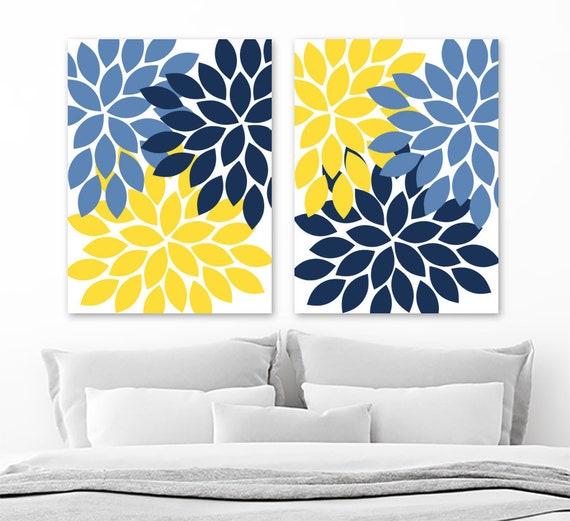 Flower Wall Art Navy Blue Yellow Flower Bedroom Wall Decor