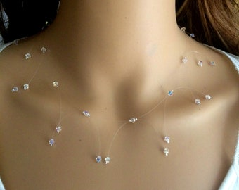 Swarovski crystal illusion necklace dainty AB OR clear Swarovski wedding necklace Sterling Silver bridal necklace, illusion bridal jewellery