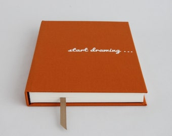 Drawing book - hardcover custom sketchbook . Creative gift for artist available in orange, purple, teal green, beige or brown fabric