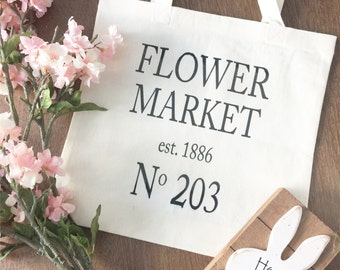 Reusable Grocery Bag - Canvas Bag - Canvas Tote - Flower Market tote bag - Farmers Market - Grocery Bag - Reusable Bag