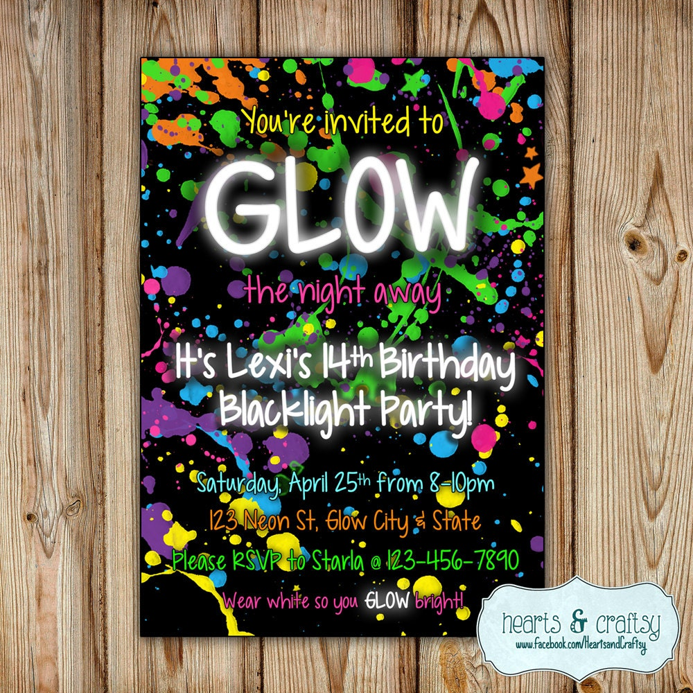 Glow in the dark party invitation neon birthday invitation zoom solutioingenieria Image collections