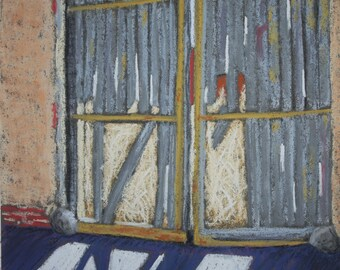 """Original pastel painting, """"Door, Past Tense."""""""