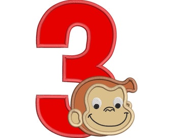 Curious George Birthday Number 3 Applique Embroidery Design - INSTANT DOWNLOAD