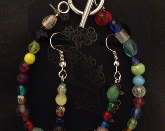 "Valentines Day Special!! Handmade Recycled Mixed Glass Beaded Bracelet or Anklet with Matching Earrings ~Sale!!~ Custom Sizes Between 5""-1"