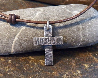 Rustic Sterling Silver Cross - Chunky Hammer Textured Cross - Oxidized Patina - Men's or boy's leather necklace - choker