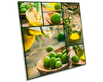 Olives Kitchen Food Drink Italian Oil CANVAS WALL ART Square Print