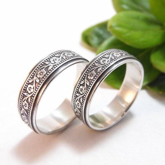 womens wedding band set marriage equality gay marriage lesbian wedding petunia wedding band womens wedding ring set same sex silver lgbtq - Gay Wedding Ring