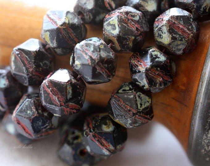 MIDNIGHT TREASURE .. 10 Picasso Czech Glass English Cut Beads 10x9mm (4634-10)