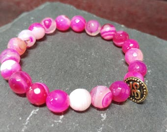 Bubblegum Ohm~ sardonyx stacking bracelets