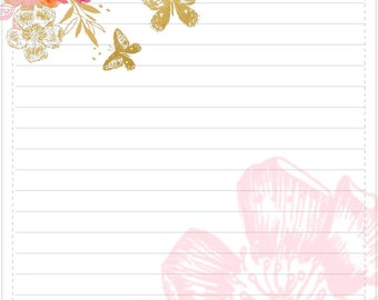 Gilded Florals Writing Paper and Envelope Printable