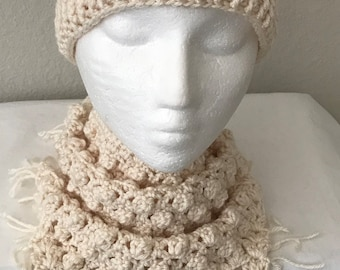 Matching Crochet Slouchy Spiral Hat and Scarf