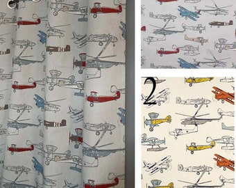Airplane Curtains - FREE SHIP - 2 Panels - ANY Size - Pewter, Gray, Red, Blue & Light Gray or Yellow and Orange - Boy Curtains - Boy Nursery