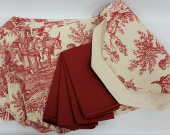 "Red Toile Reversible Placemats, Table Runner & Napkin Set - 1 Table Runner (70""), 4  Red Toile Placemats with 4 Coordinating Napkins"