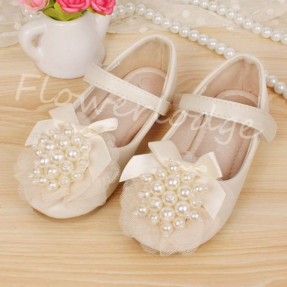 Ivory Flower Girl Shoes Toddler Girl ShoesPearl Party Shoes