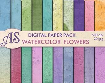 Digital Embossed Watercolor Flowers Paper Pack, 20 printable Digital Scrapbooking papers, Floral Digital Collage, Instant Download, set 36