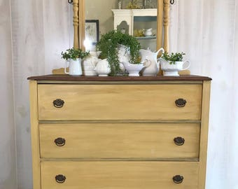 SOLD*** Rustic Farmhouse Vintage Yellow Antique Dresser with Mirror Stained Top