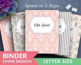 """Binder Cover Printable: """"PINK GREY DAMASK"""" Print Binder 5x set Covers + Spines Teacher Binder Soft damask backgrounds classical patterns"""