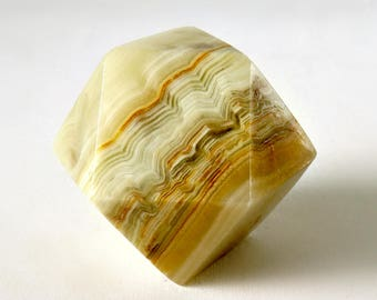 Polished Onyx Geometric Paperweight - Marble Bookend - Protection Stone - Geode Rock Desk Accessory