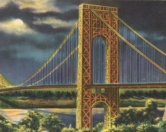 George Washington Bridge New York City circa 1940s - Vintage Photo Art Print, Ready to Frame!
