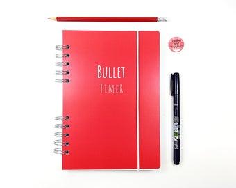 Bulletjournal Bullet-TimeR, Punktraster, dotted paper, abwischbarer Umschlag, Drahtkammbindung mit runden Löchern, Verschluß mit Gummikordel