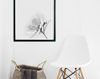 Floral Print, Wall Art, Wild Flower Print, Botanical Print, Vintage Wall Art, Black and White Print, Abstract Flower Print, Kitchen Wall Art