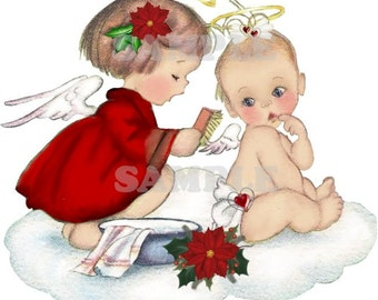 Vintage angel and baby getting ready for christmas, digital, vntage image, girl, baby