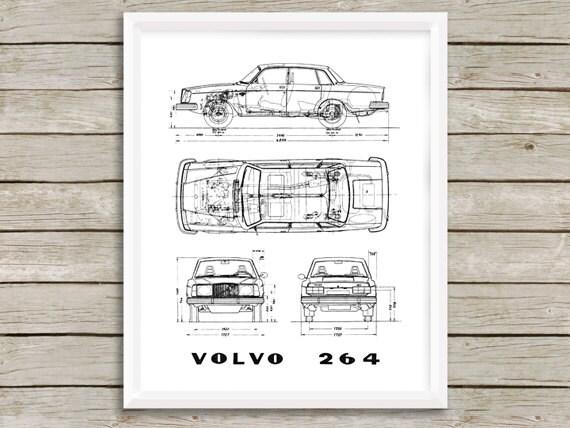 Volvo-Blaupause Volvo 264 Dekor Blueprint Instant Download