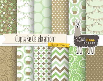 Birthday Party Digital Paper, Cupcake Digital Scrapbook Paper, Mint Green Backgrounds, Cupcakes, Celebration, Bunting Banner