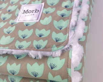 Floral Cotton and Minky Blanket for Baby and Toddler