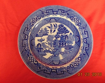 """One (1), 8 7/8"""", Luncheon Plate, from Ridgway, in the Willow Blue (Diamond) Pattern."""
