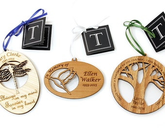 Personalized Memorial Ornament. Honor Loved Ones with this Custom Engraved Remembrance. Oak, Cherry, or Maple.