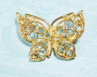 Vintage Victorian Gold Filigree Butterfly Brooch - BUT-105 - Victorian Butterfly - Gold Filigree Brooch - Metal Butterfly Brooch