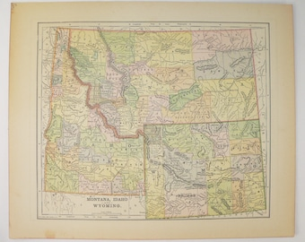 Wyoming Map, Colorado, Idaho Map 1896 Western Decor Vintage Map, Western US State Map, Wyoming Gift Colorado Map Art Gift for Guy, WY Map CO