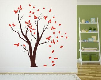 Fall Tree   Vinyl Wall Decal   Bare Tree   Tree Decal   Falling Leaves   Autumn Tree   Nursery Decor   Fall Decor   22457