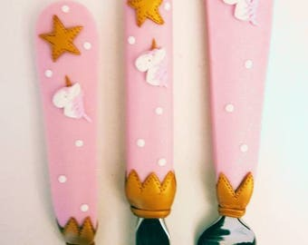 Set 3 piece pink and gold Unicorn covered