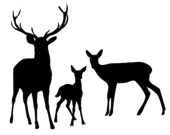 Deer Family Stencil Made from 4 Ply Mat Board-Choose a Size-From 5x7 to 24x36