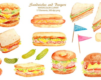 Watercolour clipart sandwich, burger and hotdog for instant download, food clipart
