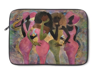 The Fabulous Pink And Green Golden Laptop Sleeve