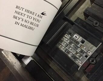 Miley Cyrus 'Malibu' letterpress print perfect for a gift!