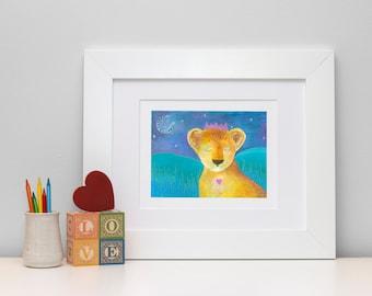 Safari nursery wall art. Lion art print. Lion nursery art. Safari nursery decor. Art for baby room. Toddler gift ideas. Baby animal art