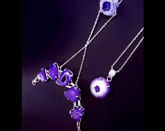 Slave bracelet, druzy ring, stalactite bracelet, purple hand bracelet, boho jewelry, stalactite ring, purple druzy, gypsy bracelet, OOAK