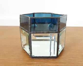 Dark teal blue stained glass candle holder with mirrored bottom, leaded glass candle holder