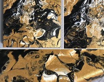 "6x6"" metallic gold painting"