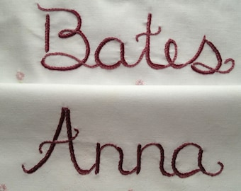 Downton Abbey, Pillowcases, Hand Embroidery, Embroidered decor, Romantic gift, Couples gift, Cottage chic